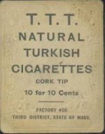 T.T.T. Natural Turkish Cigarettes back of a T204 card.